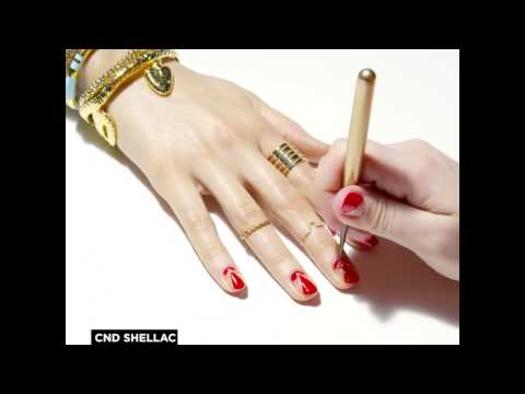 CND Shellac Rhythm & Heat nail design #1